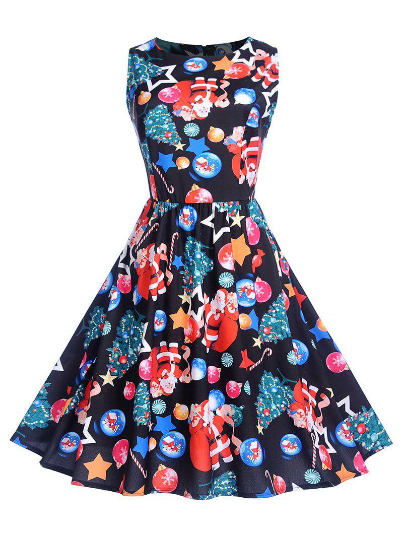 Fashion Sleeveless Christmas Printed High Waist Dress
