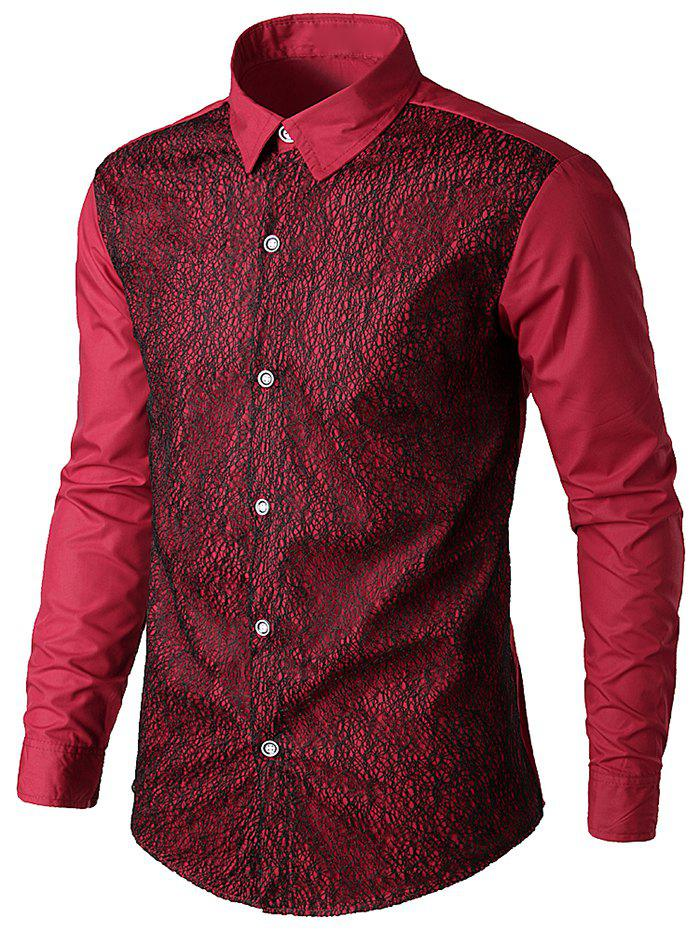 Best Front Mesh Embellished Casual Shirt