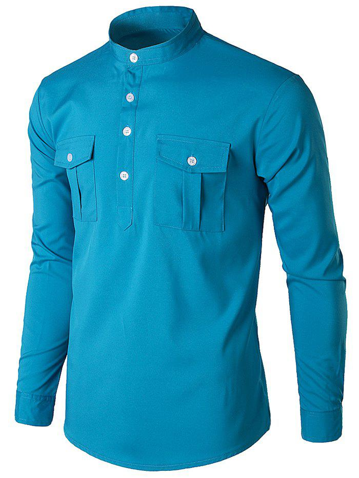 Cheap Stand Collar Solid Color Shirt