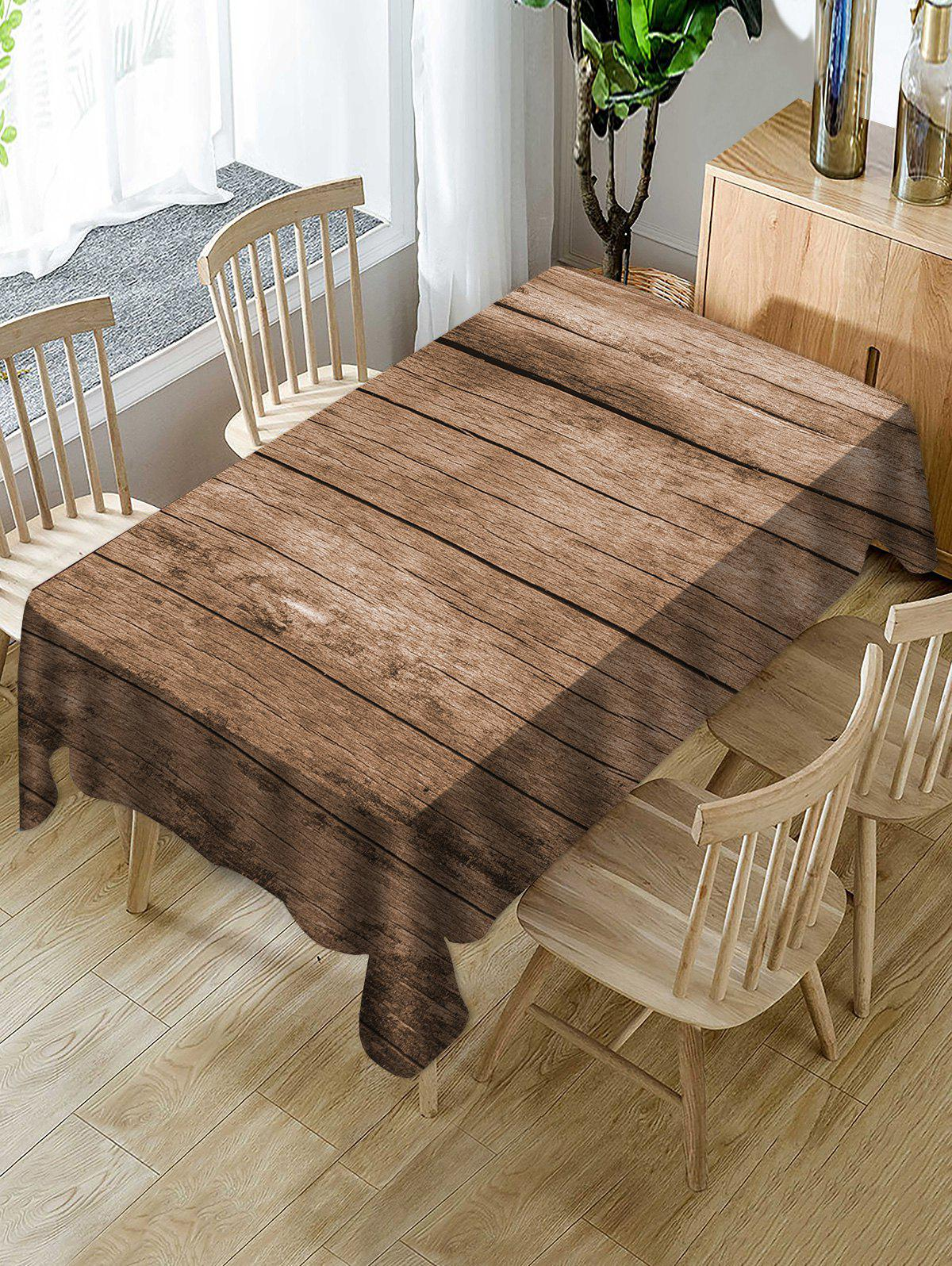Hot Wooden Board Print Fabric Waterproof Tablecloth