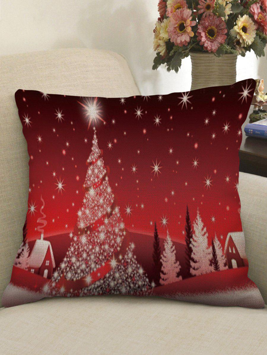 Online Christmas Star Tree Print Decorative Sofa Linen Pillowcase