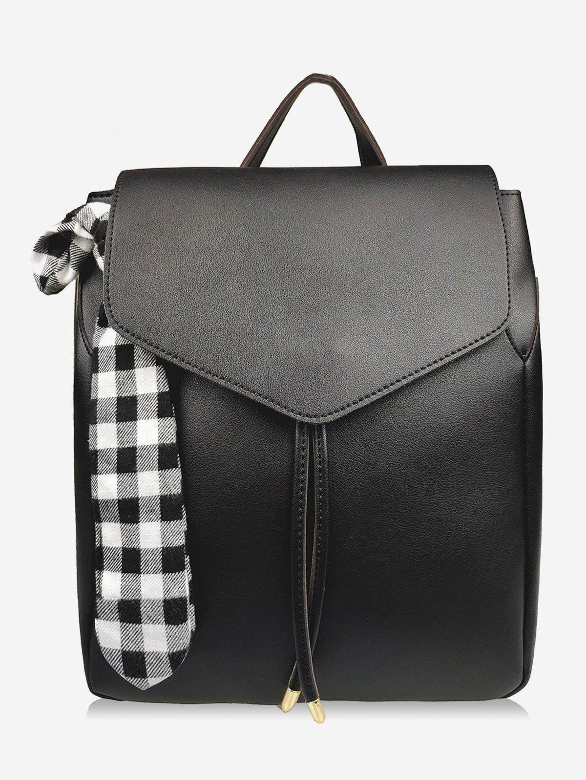 Store Bowknot Checked String Design Backpack