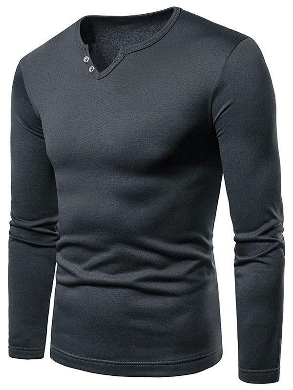 Buy Button Embellish Notch Neck Warm T-shirt