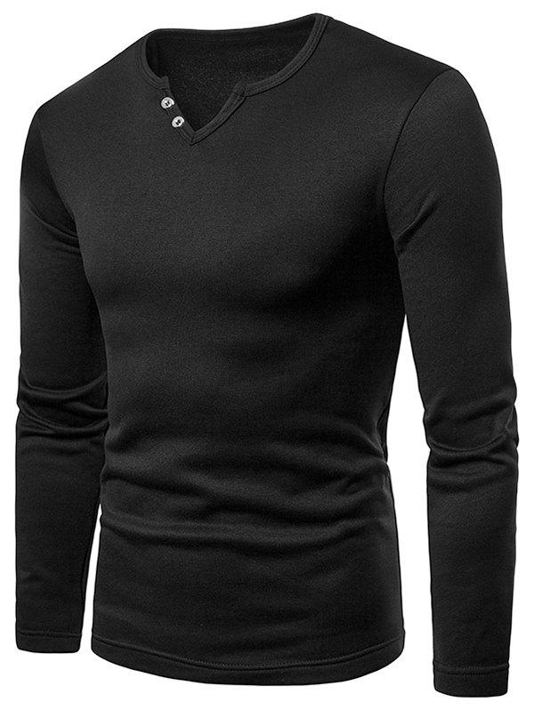 Chic Button Embellish Notch Neck Warm T-shirt