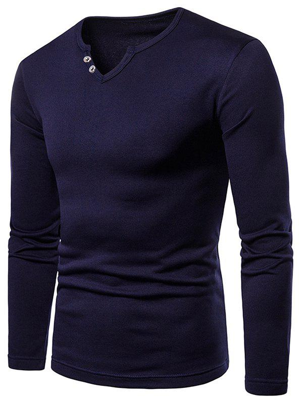 New Button Embellish Notch Neck Warm T-shirt