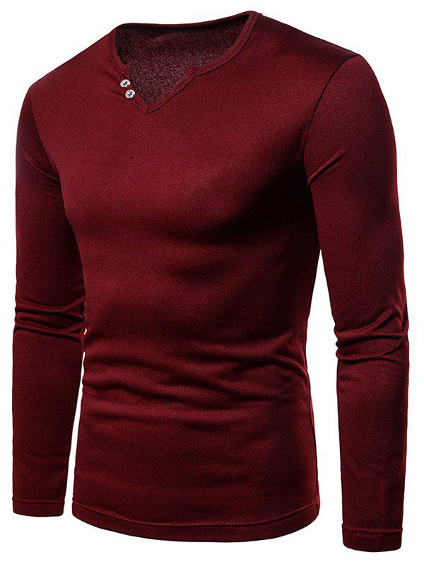Affordable Button Embellish Notch Neck Warm T-shirt