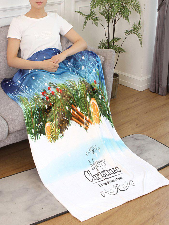 Store Merry Christmas Printed Flannel Bed Blanket