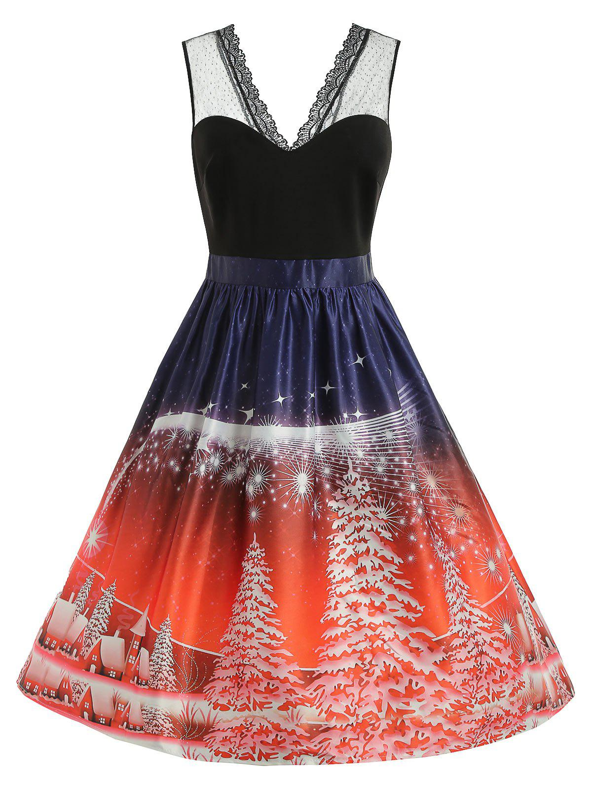Plus Size Sleeveless Christmas Dress