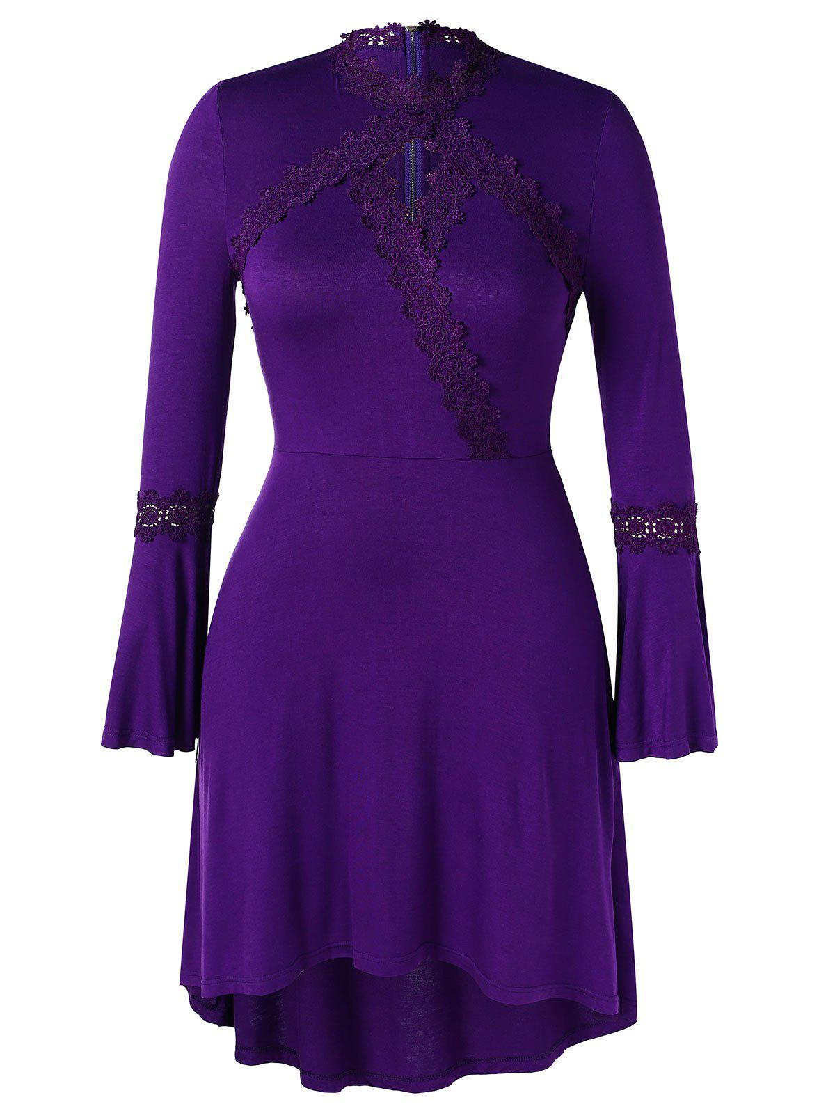 Sale Plus Size Asymmetric Lace Spliced Bell Sleeves Dress