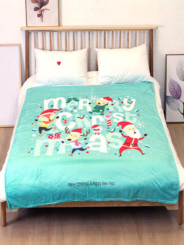 Hot Father Christmas Elk Printed Flannel Bed Blanket