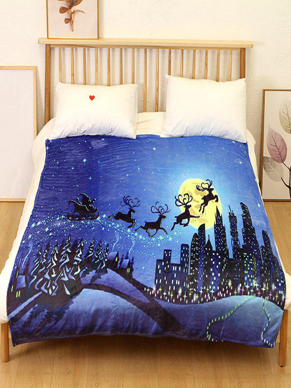 Buy Christmas Elk Flannel Soft Bed Blanket