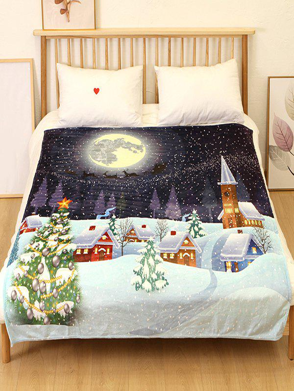 Trendy Christmas Tree Night Flannel Soft Bed Blanket