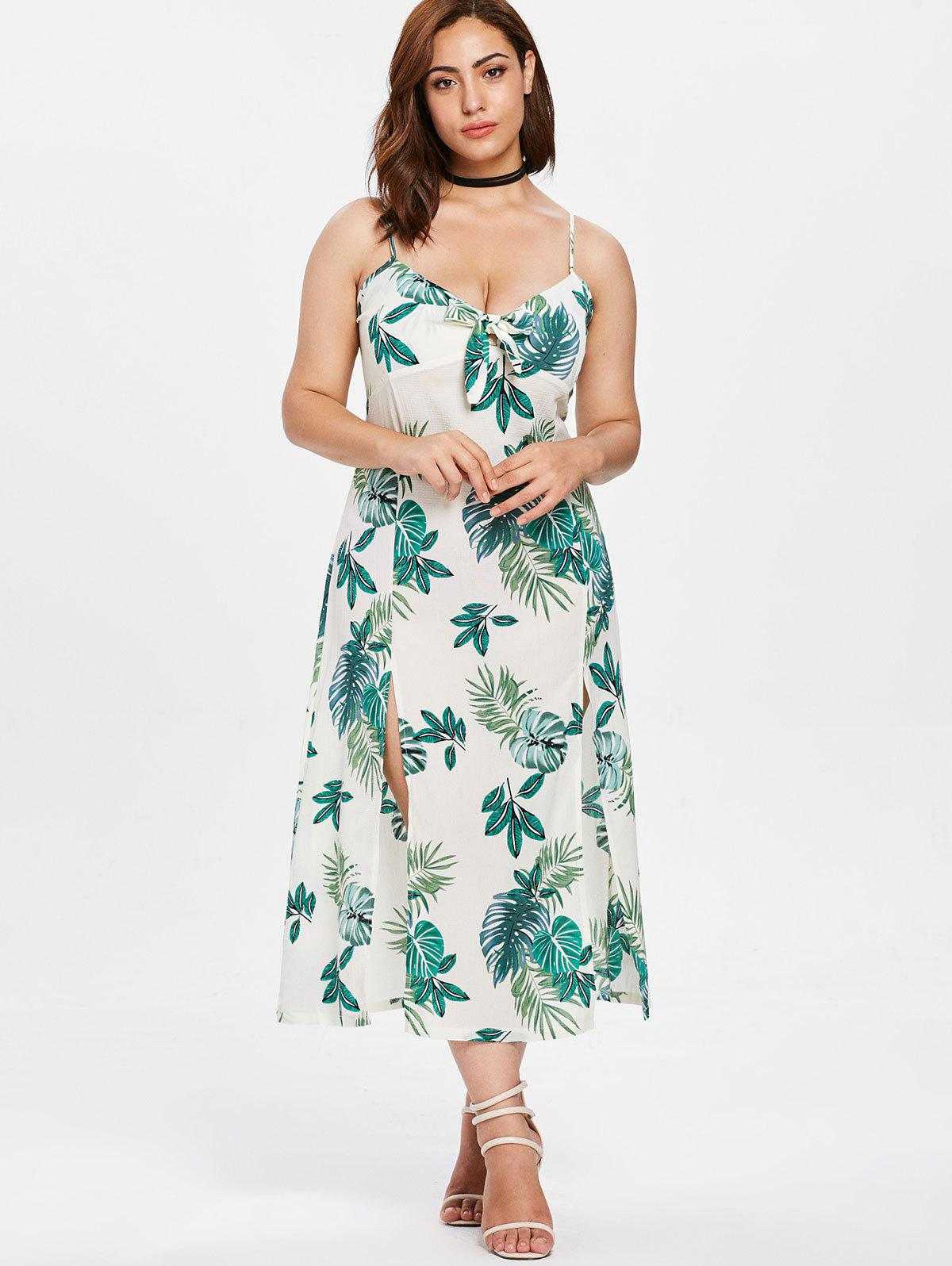 Online Leaves Knotted Plus Size Dress