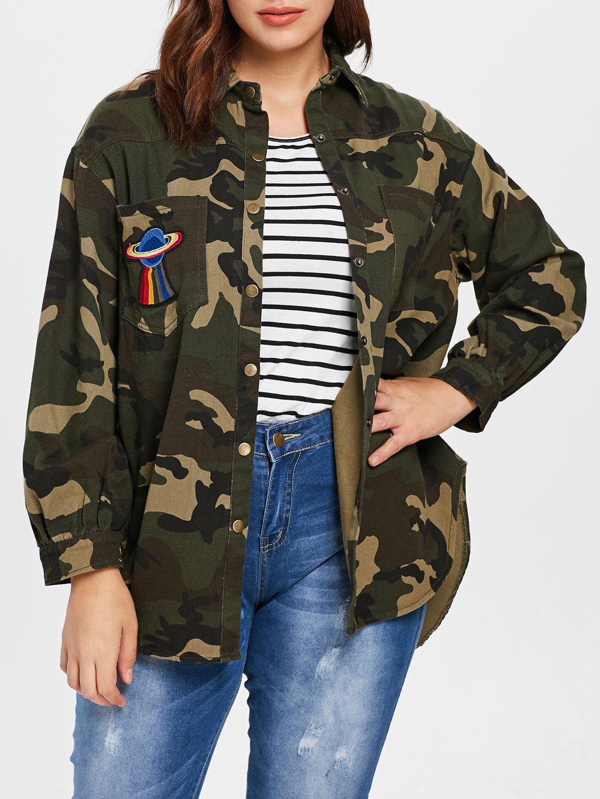 Hot Plus Size Double Pocket Camo Blouse
