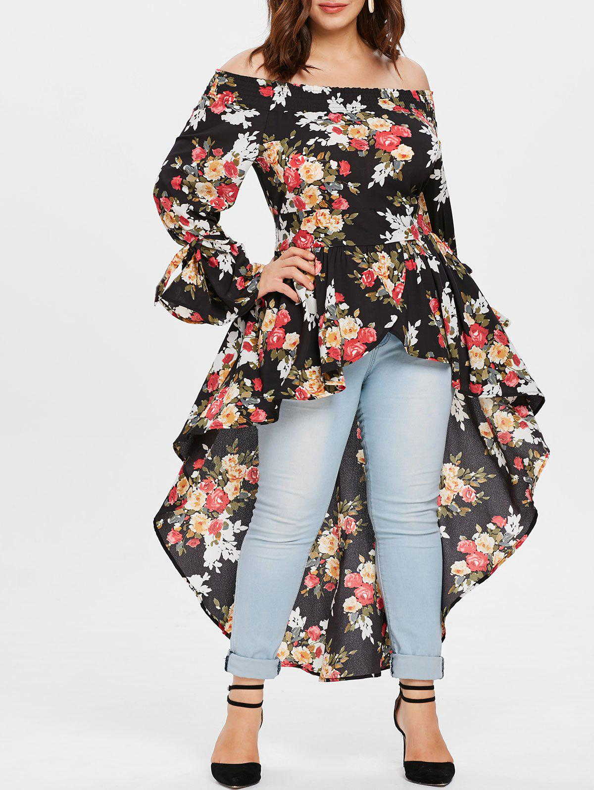 Cheap Plus Size Off Shoulder Floral High Low Long Blouse