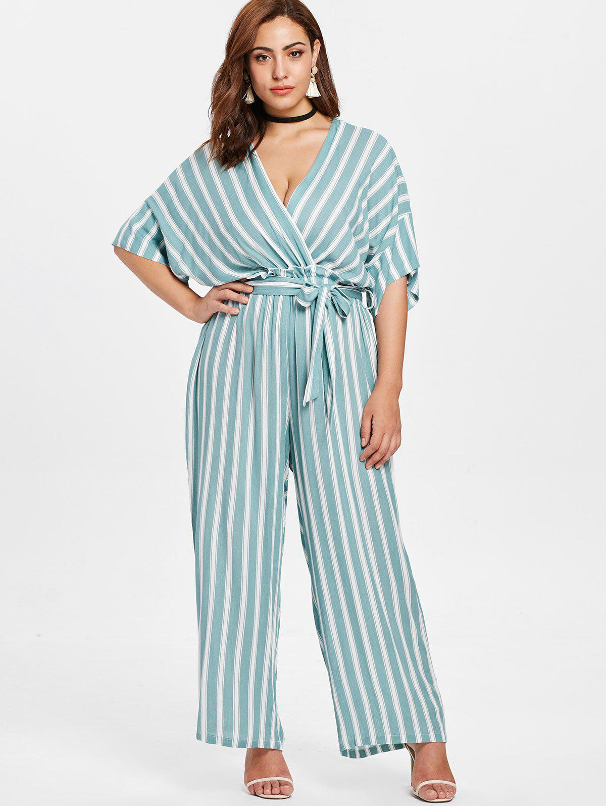 Discount Striped Plus Size Surplice Jumpsuit