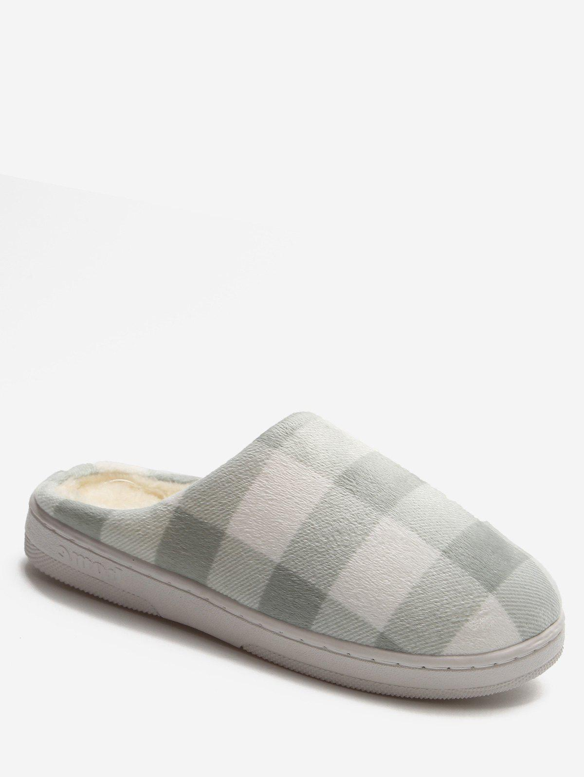 Affordable Plaid Cotton Indoor Warm Slippers