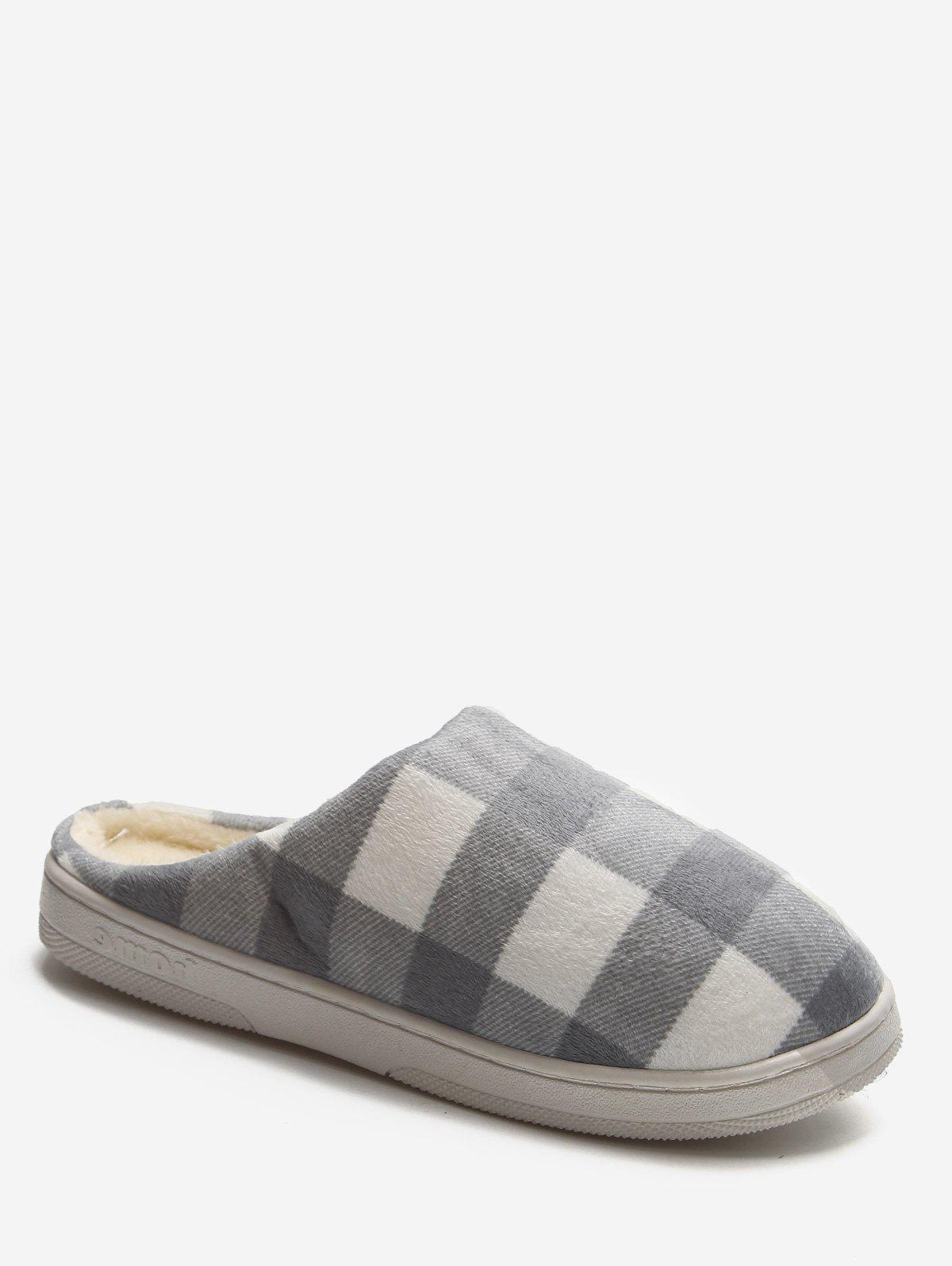 Latest Plaid Cotton Indoor Warm Slippers