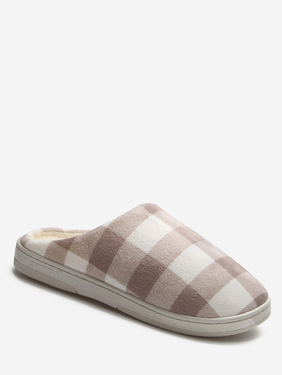 Fashion Plaid Cotton Indoor Warm Slippers
