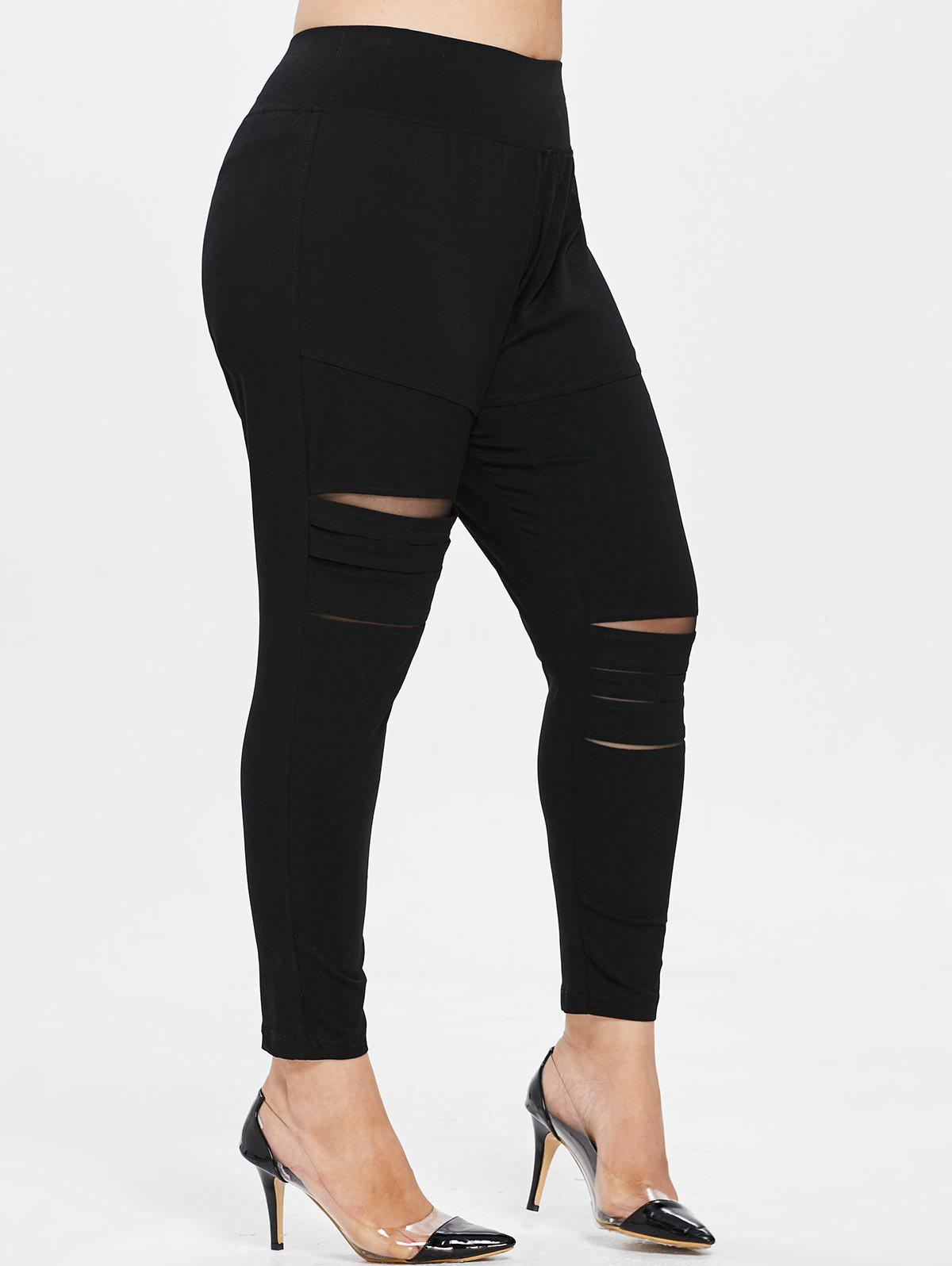 Discount Distressed Plus Size Elastic Waist Leggings