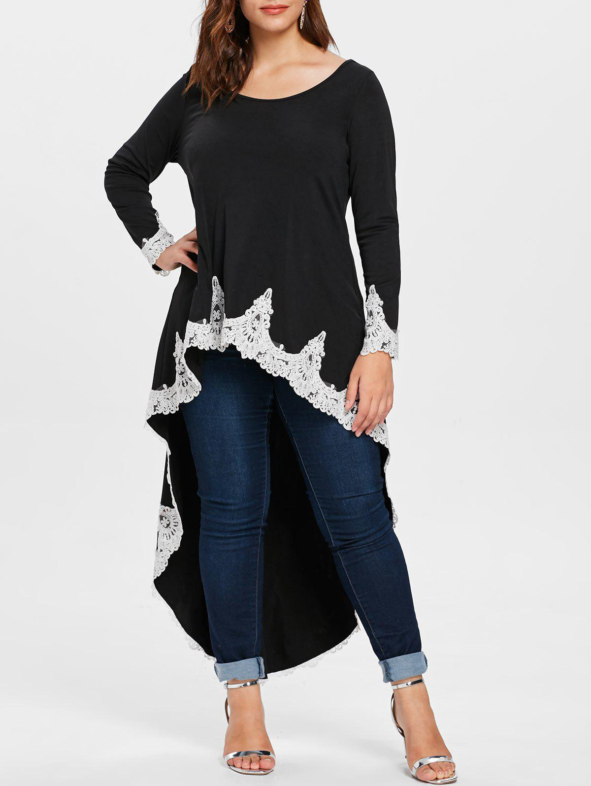 Outfits Lace Panel Plus Size High Low T-shirt