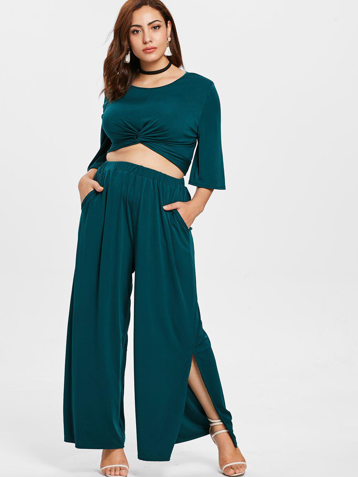 Fancy Plus Size Twist Top and High Waisted Pants