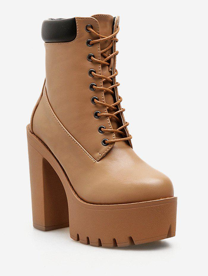 Outfits Lace Up Platform Chunky Heel Boots