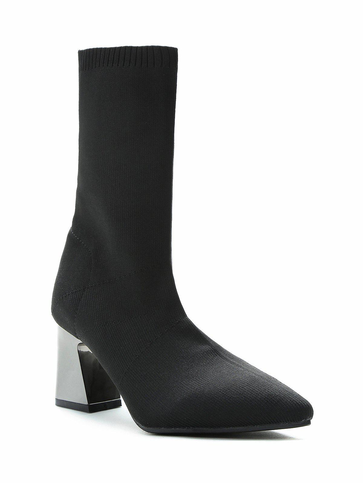 Buy Plated Chunky Heel Mid Calf Boots