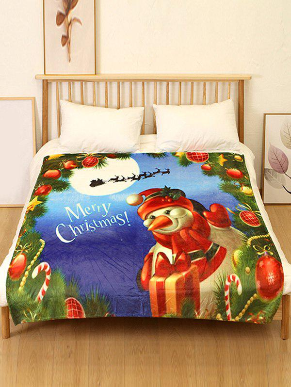 Discount Merry Christmas Snowman Print Flannel Bed Blanket