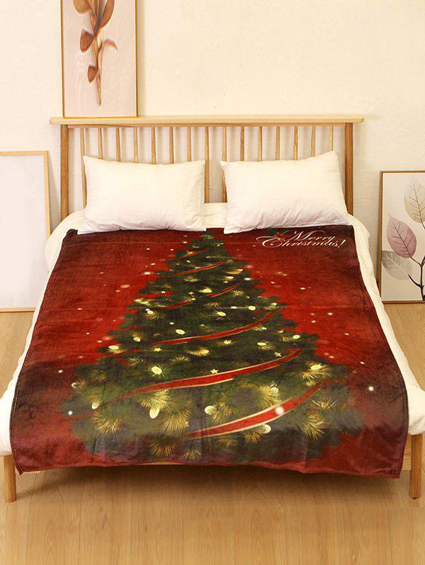 Store Merry Christmas Tree Print Flannel Soft Bed Blanket
