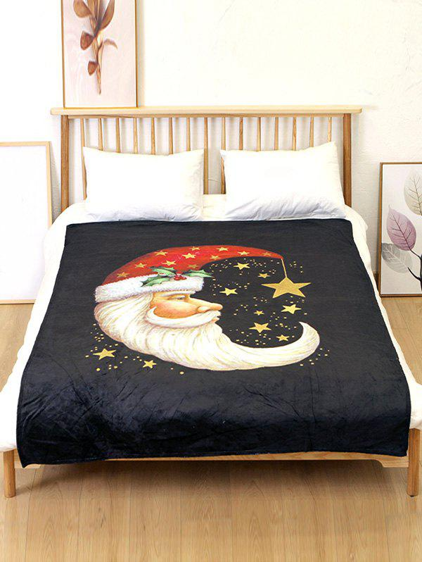 Discount Santa Claus Moon Star Printed Flannel Bed Blanket