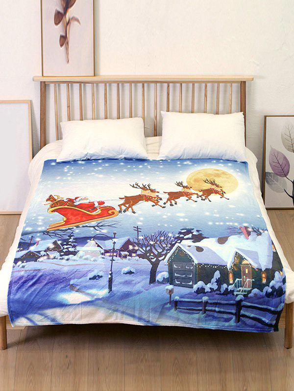 Best Santa Claus Sleigh Elk Print Flannel Soft Bed Blanket
