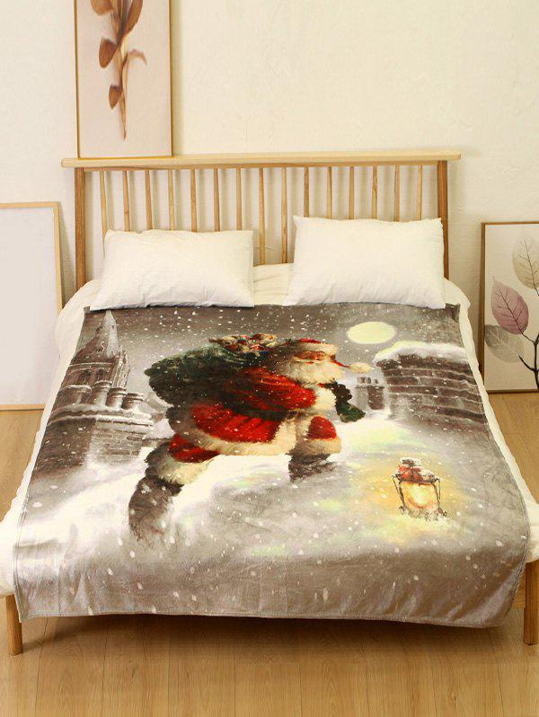 Discount Father Christmas Print Flannel Soft Bed Blanket