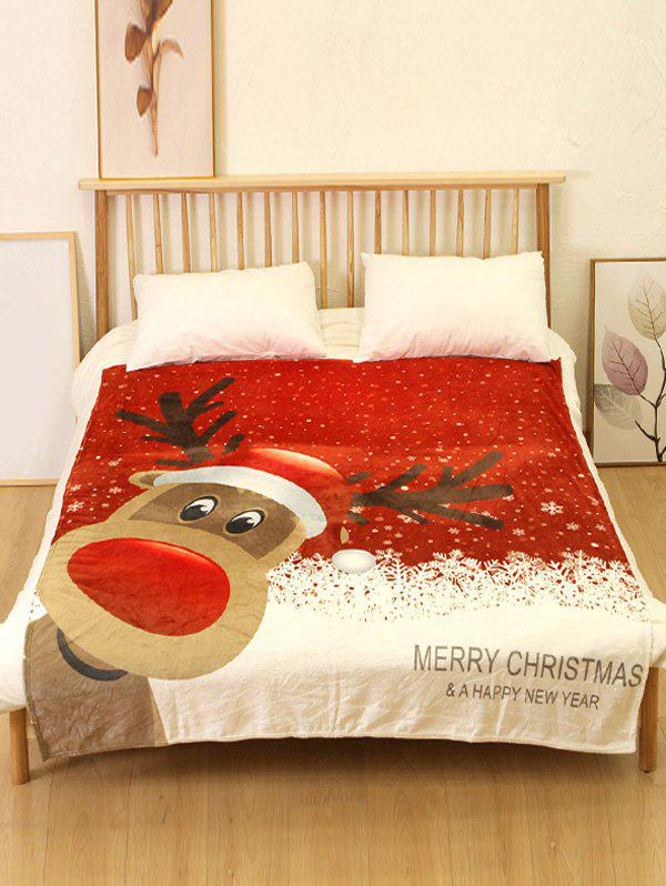 Hot Merry Christmas Elk Print Flannel Soft Bed Blanket