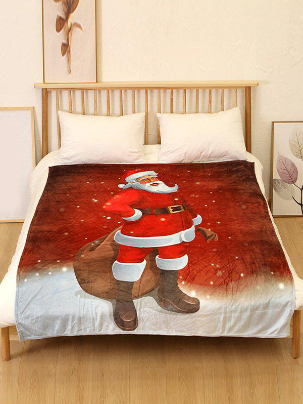 Shop Father Christmas Print Flannel Soft Blanket