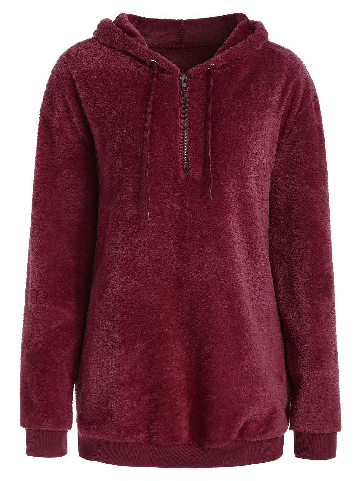 Latest Half Zipper Fluffy Hoodie with Pockets