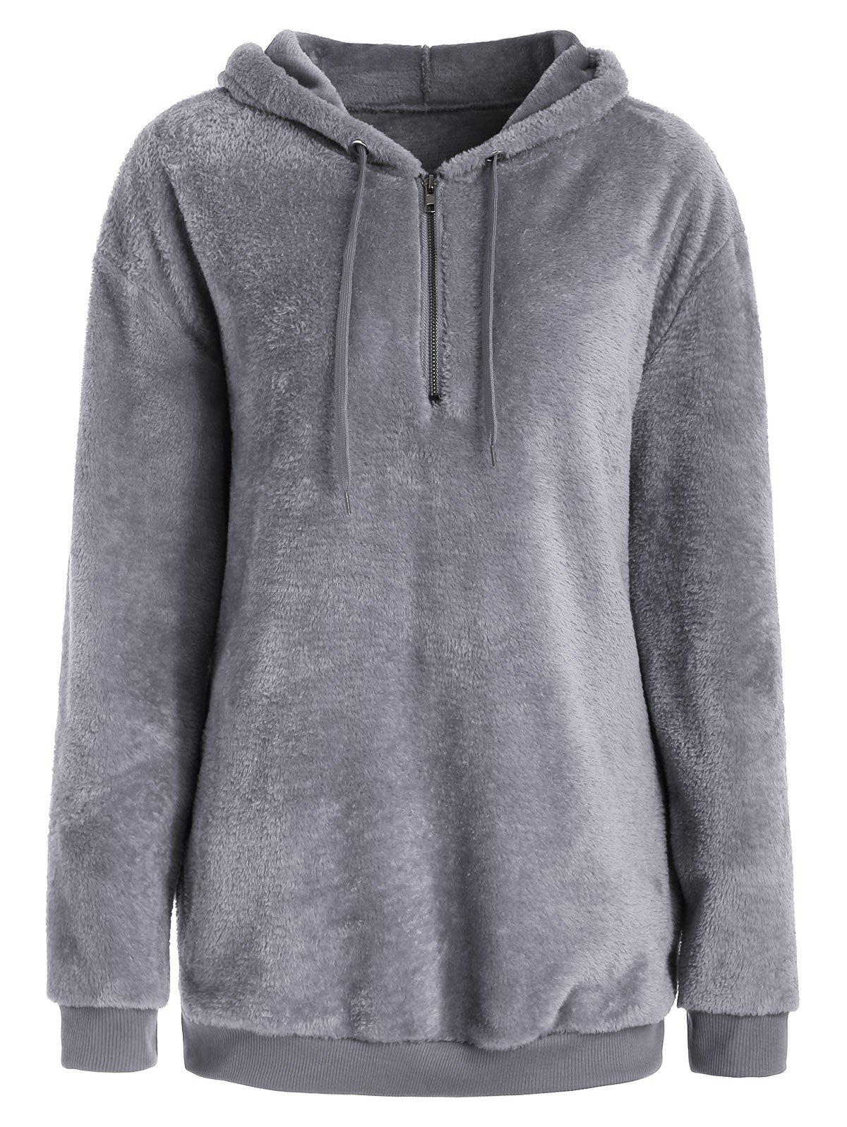 Cheap Half Zipper Fluffy Hoodie with Pockets
