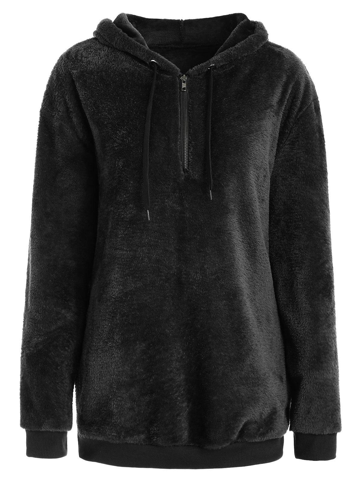 Store Half Zipper Fluffy Hoodie with Pockets