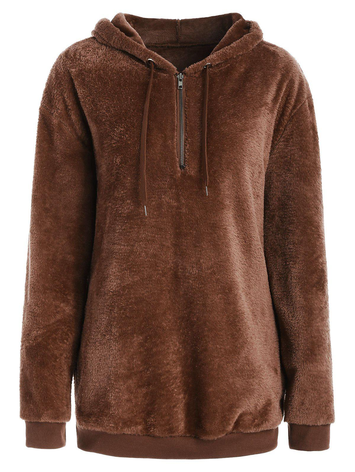 New Half Zipper Fluffy Hoodie with Pockets