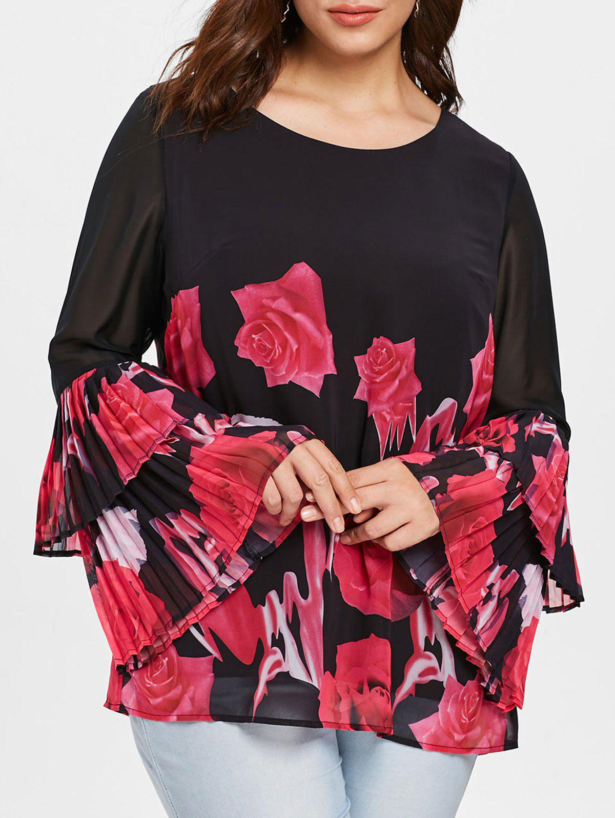 Chic Plus Size Bell Sleeve Floral Blouse