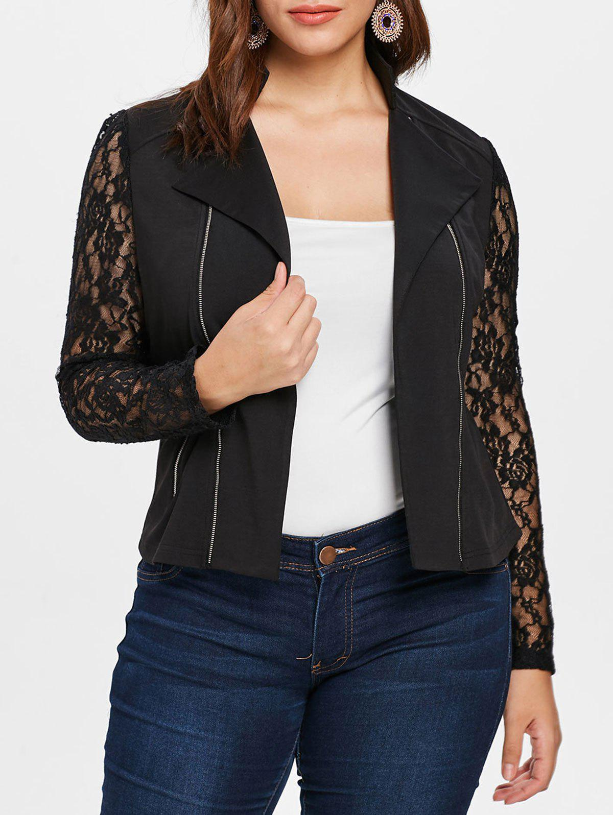 Outfit Plus Size Lace Insert Zip Up Bomber Jacket