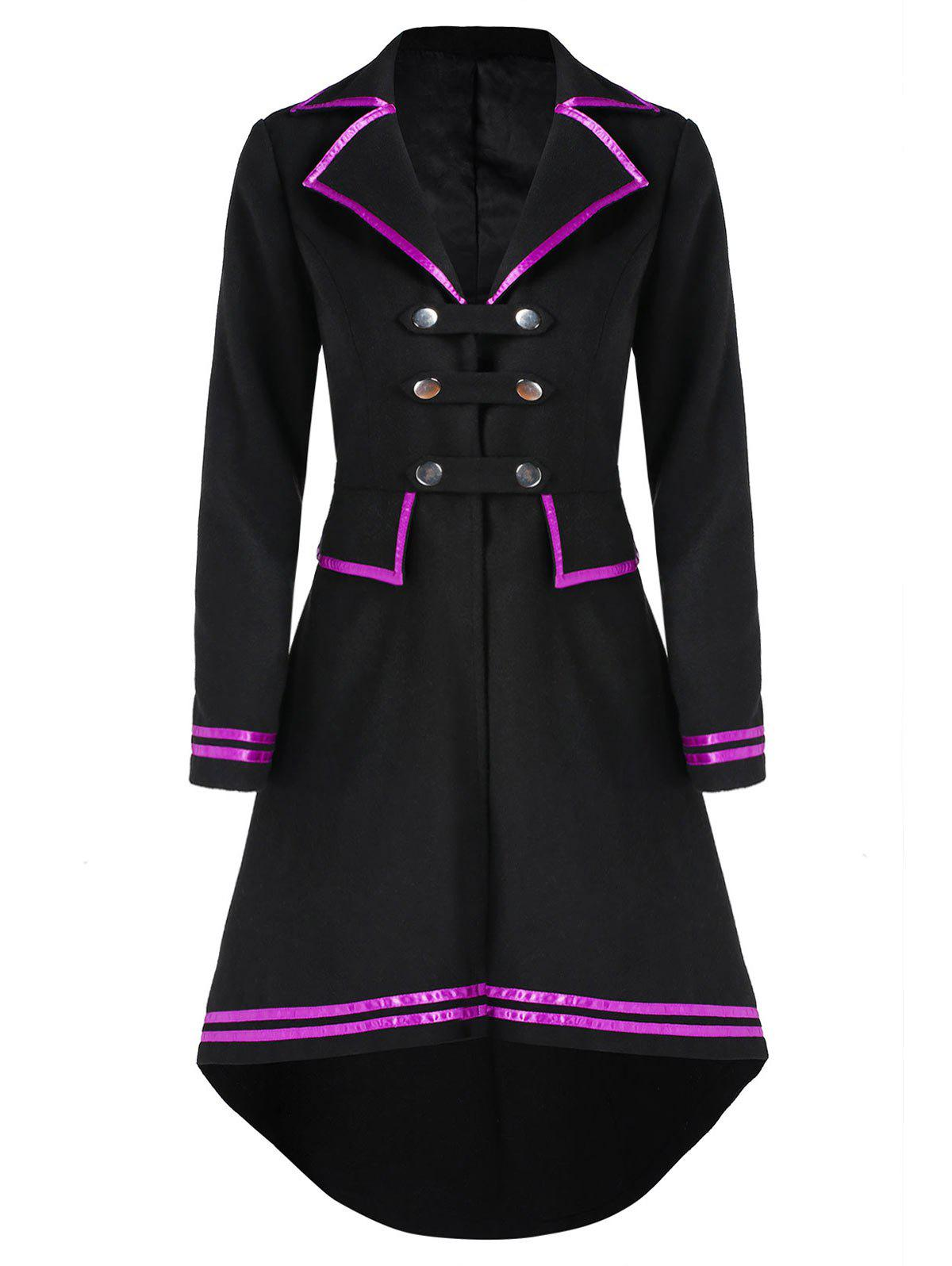 Trendy Faux Wool High Low Frock Coat