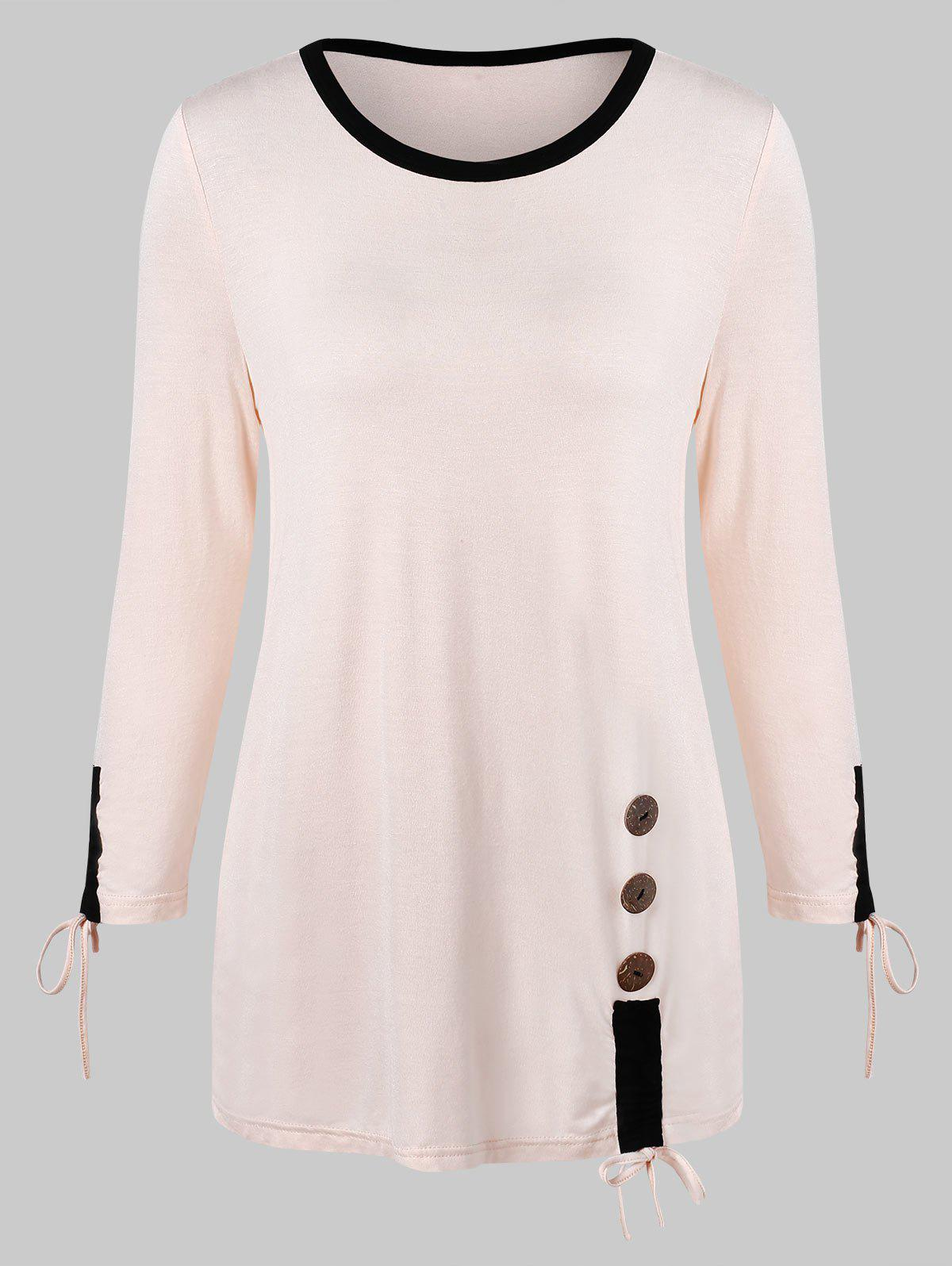 Outfit Color Trim Long Sleeve T-shirt with Buttons