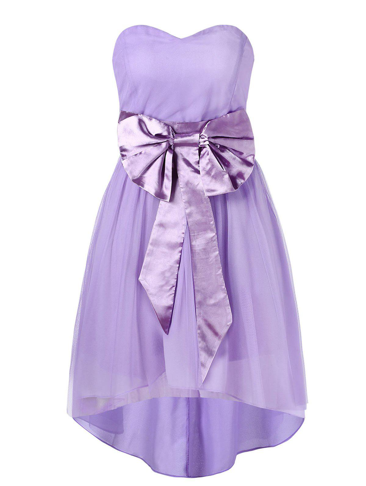 Buy Sweetheart Neckline Bowknot Sash High Low Mesh Cocktail Dress