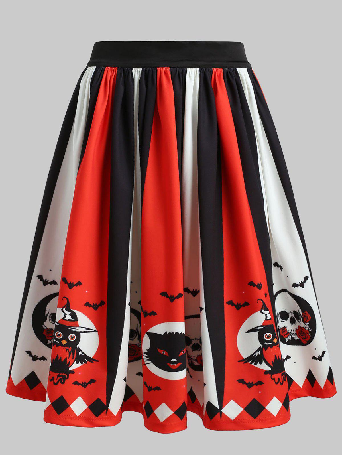 Unique High Rise Printed Halloween Skirt