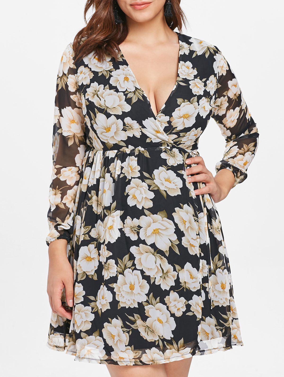 Sale Plus Size Floral Flowy Wrap Dress