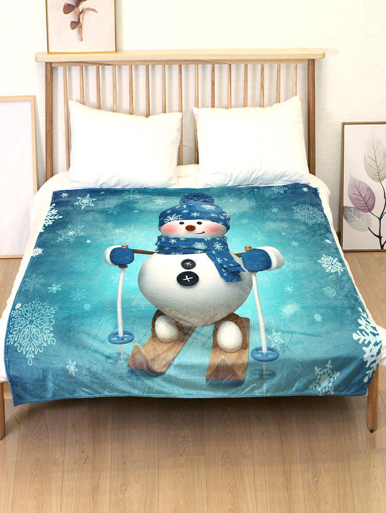 Cheap Christmas Snowman Skiing Flannel Bed Blanket