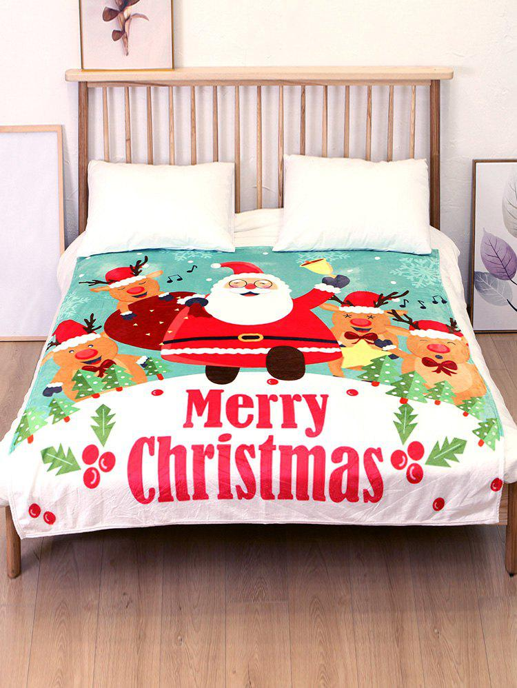 Store Santa Claus Deer Printed Flannel Bed Blanket