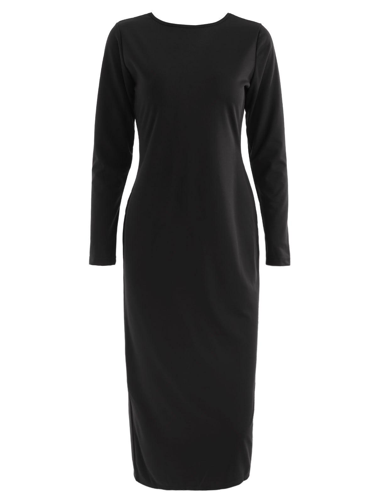 Full Sleeve Zipper Back Bodycon Dress, Black