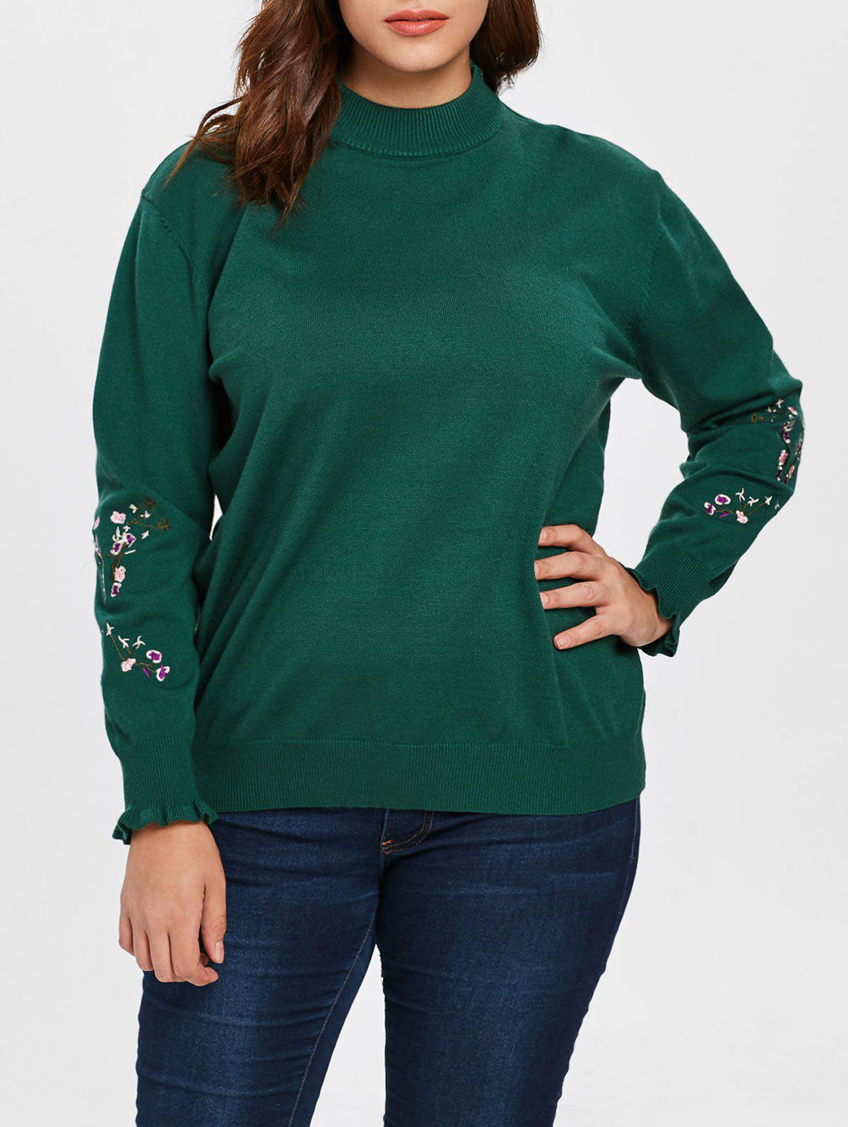 Hot Plus Size Floral Patch Sleeve Sweater